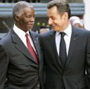 L-R: Thabo Mbeki of South Africa and Nicolas Sarkozy of France - Photo credit: EU Presidency. Click to download the declaration on climate change