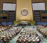 Letter from UNGA President Srgjan Kerim/A view of the General Assembly Hall
