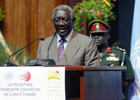 His Excellency John Agyekum Kufuor, President of Ghana, addresses delegates during the opening ceremony.