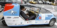 Secretary-Genetral Ban-Ki moon driven to work by Solartaxi, a fully solar powered car. UN Photo/Mark Garten