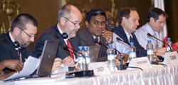 L-R: Bert Lenten, AEWA Executive Secretary; MOP-4 Chair Tovondriaka Rakotobe, Madagascar; Vice-Chair Abdoulaye N'Diaye, Senegal; Vice-Chair Olivier Biber, Switzerland; and Tim Jones, report writer