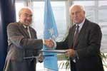 WMO headquarters, Geneva, 16 September 2008 — Michel Jarraud, Secretary-General of WMO, and Alan Bryden, Secretary General of ISO