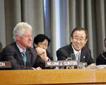 Former US President Bill Clinton and Secretary-General Ban Ki-moon (2nd right)