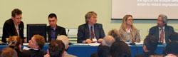 L-R: Barney Dickson, UNEP; Robert Flanagan, Charion; Moderator Gregoire De Kalbermatten; Debbie Reed, International Biochar Initiative; Sergio Zelaya, UNCCD Secretariat.