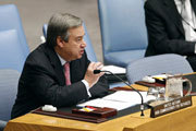 High Commissioner for Refugees António Guterres addresses the Security Council