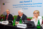 Chair Jan Heino (center) during one of the plenary sessions (photo courtesy of the INC-Forests Secretariat)