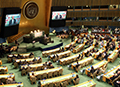 View of the opening ceremony of the High-level Thematic Debate on Achieving the Sustainable Development Goals at the chamber of the UN General Assembly