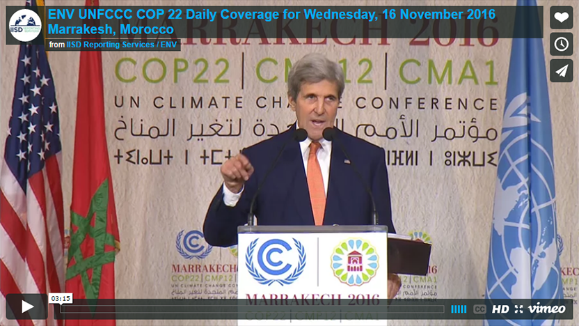 ENV / UNFCCC COP 22 Daily Coverage - Wednesday, 16 November 2016