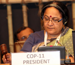 COP 11 President Jayanthi Natarajan, Minister of Environment and Forests, India, gavelled the meeting to a close at 3:02 am.