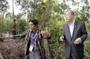 UN Secretary-General Ban Ki-moon (right) visits an indigenous community affected by deforestation in Borneo, Indonesia