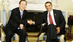 President Barack Obama shakes hands with United Nations Secretary-General Ban Ki-moon in the Oval Office of the White House March 10, 2009, in Washington, D.C.  <span id=