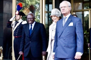 King Carl XVI Gustaf, Queen Silvia and Jacques Diouf (right to left). Photo credit, FAO
